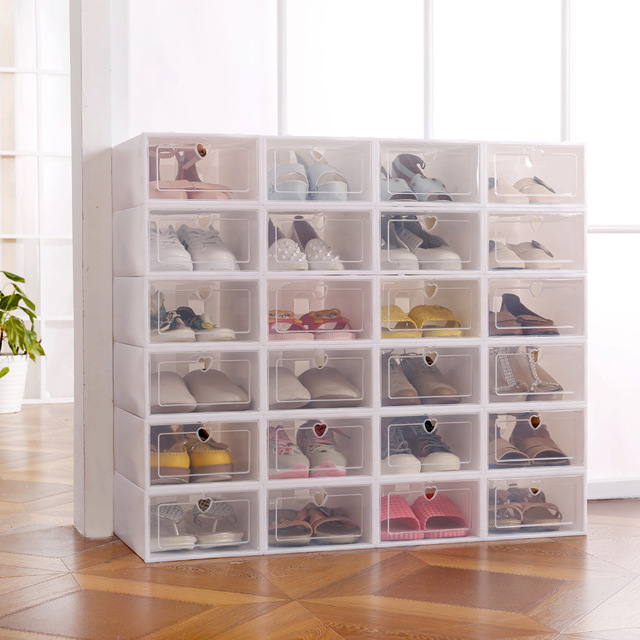 Image 2 - 6pcs Foldable Plastic Shoe Boxes Universal Home Organizer Stackable Storage Drawer Transparent Home Holding Box-in Storage Boxes & Bins from Home & Garden