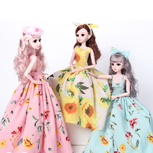 цена на 60cm 1/3 BJD Dolls Toys DIY Cute 18 Joints Toy Doll Set With Wigs Clothes Shoes Makeup bjd Doll Toys For Girls Gift