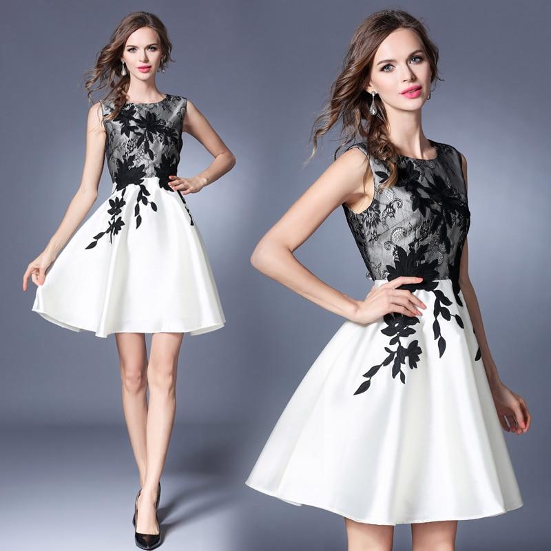 LAKYZUMI Brand Europe Style Women Clothing New Summer Fashion Flowers Embroidery Dress O-neck Sleeveless Layered Vintage Dresses женское платье dress new brand 2015 o dresses women