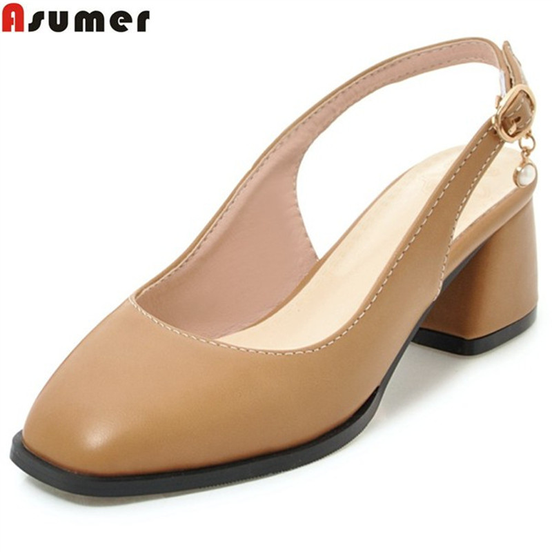 ASUMER 2018 fashion spring autumn shoes woman square toe buckle pumps women shoes slingbacks high heels shoes big size 34-43