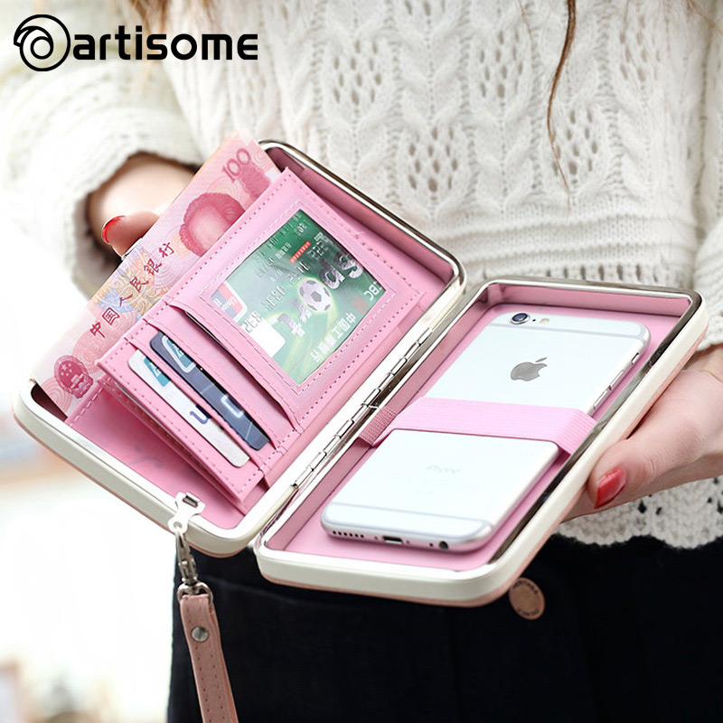 ARTISOME Leather Wallet Case For <font><b>iPhone</b></font> 7 6 Plus 5S Phone Bag Case Women Wallet Purse Card Holder Universal For Samsung S8 Case