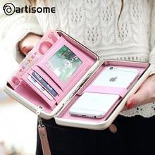 Artisome кожаный бумажник чехол для iPhone 7 6 Plus 5S телефон сумка женщины кошелек визитница универсальный для Samsung S8 случае