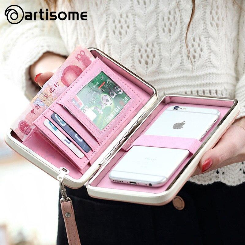imágenes para Funda Cartera de Cuero Para iPhone 7 Plus 6 5S ARTISOME Teléfono Caja del filtro del Monedero Carpeta de Las Mujeres Titular de la Tarjeta Universal Para Samsung S8 caso