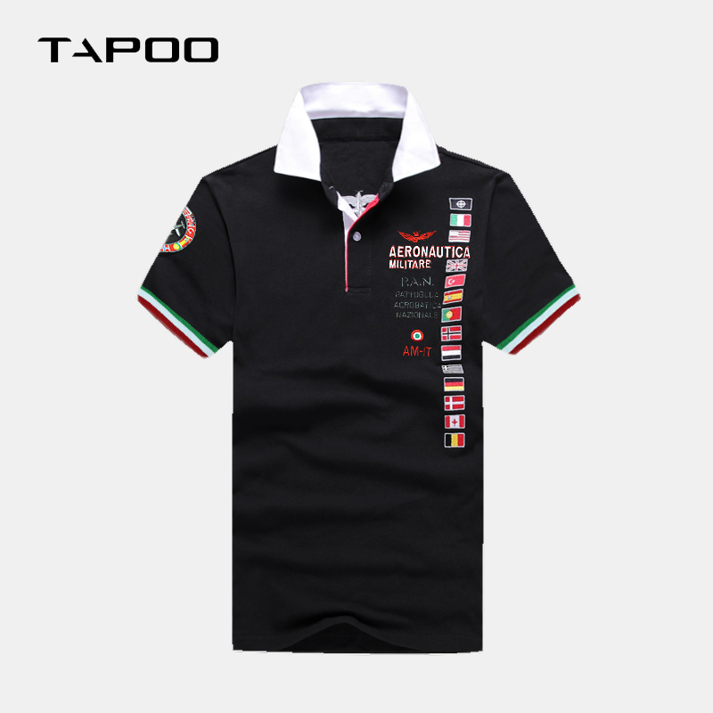 2019 Men Clothes Plus Big Size Aeronautica Militare Brand Short-sleeve 4XL 5XL 6XL 8XL   Polo   shirts Turn Down Collar Tee Male