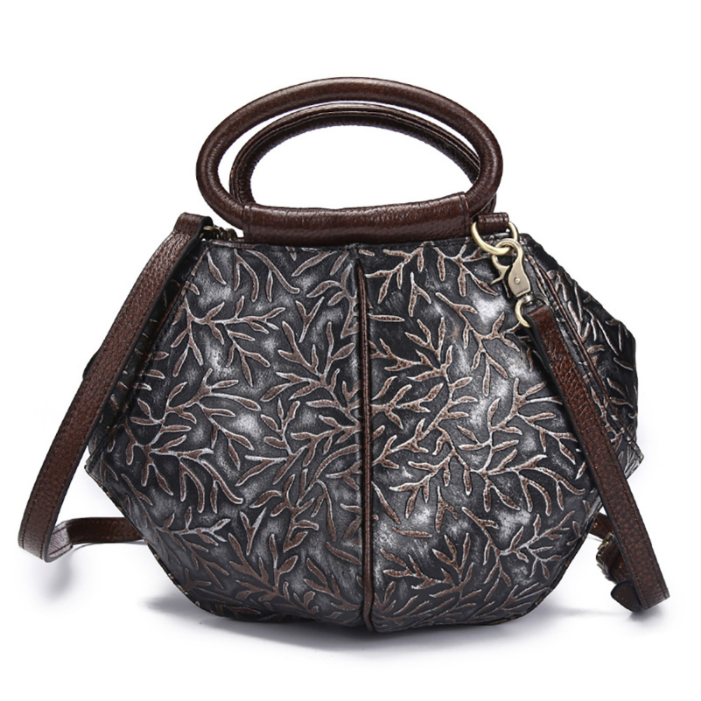 100% Genuine Leather Handbag Women Vintage Trend Hobo Shoulder Messenger Bag Natural Cowhide Cross Body Retro Tote Bags