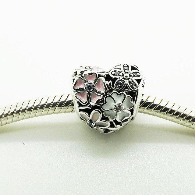 Argento Perline a forma di Cuore Poetica Blooms con Misto Dello Smalto e Clear C