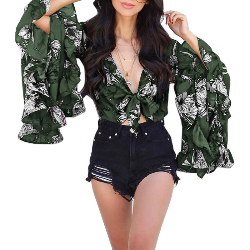 Women Fashion Butterfly Sleeve Blouse Top Sexy V neck Strapless Ruffled Blosue Summer Sunscreen Pleated Bow Casual Top 2019 New in Blouses amp Shirts from Women 39 s Clothing