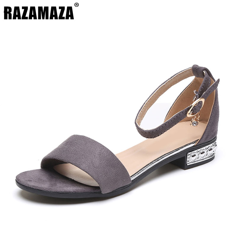 RAZAMAZA Office Lady Concise Flats Sandals Women Ankle Strap Ctystal Summer Shoes Women Office Lady Daily Footwear Size 35-40 rizabina concise women sneakers lady white shoes female butterfly cross strap flats shoes embroidery women footwear size 36 40