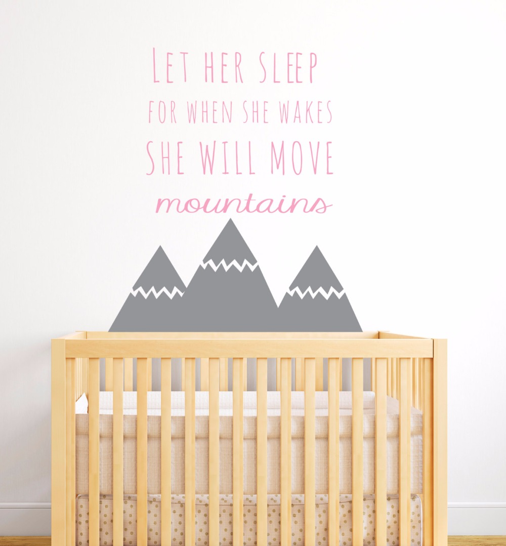 popular baby nursery decoration buy cheap baby nursery decoration nordic style mountains quotes wall sticker for kids room baby nursery decor girls bedroom wall decor