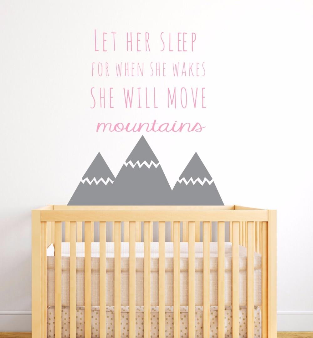 €6.4 25% de réduction|Style nordique montagnes citations mur autocollant  pour enfants chambre bébé pépinière décor filles chambre mur décor Art  maison ...