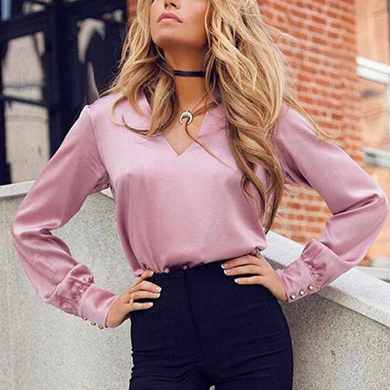 9747c260645c43 ... 2019 Sexy Fashion V Neck Satin Blouse Shirt Casual Long Sleeve Button  Women's Slim Blouses Office ...