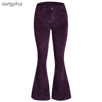 Purple Red Green Vintage Velvet Flare Pants Women Casual Wide Leg Pants for Winter Autumn 2019 Slim Fitted Flare Long Trousers