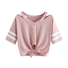 Women Tshirt Harajuku O Neck Hollow Out Short Tees Solid Color With Two Blocked With Bow Bandage Summer Modis T-Shirts Plus Size