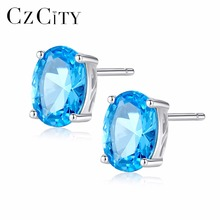 CZCITY Topaz Earrings 1.8 Carat Oval Sky Blue Topaz Birthstone 925 Sterling Silver Stud Earring for Women Gemstone Jewelry rosalie natural loose gemstone brazil real sky blue topaz oval 6 8mm 3 pc 4 5ct in one lot gemstone for silver jewelry mounting