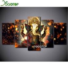 YOGOTOP DIY Diamond Painting Cross Stitch Kit Full Embroidery Mosaic Decor Hindu God Ganesha Elephant 5pcs ML186