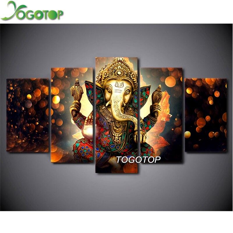 YOGOTOP bricolage diamant peinture point de croix Kit complet diamant broderie diamant mosaïque décor hindou dieu Ganesha éléphant 5 pièces ML186
