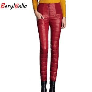 Image 3 - BerylBella Winter Women Pants  Casual High Waist Zipper Slim Double Faced Duck Down Warm Black Bule Pencil Pants Trousers