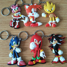 Anime Super Sonic The Hedgehog Figures Toys Cartoon Sonic PVC Keychain Key Bag Pendants Dolls 10pcs/lot(China)