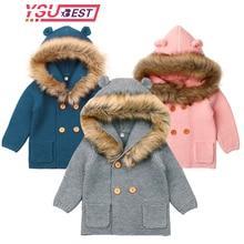Вязаный кардиган для маленьких мальчиков и девочек; зимние теплые свитера для новорожденных; модное пальто с капюшоном и длинными рукавами; куртка; одежда для детей