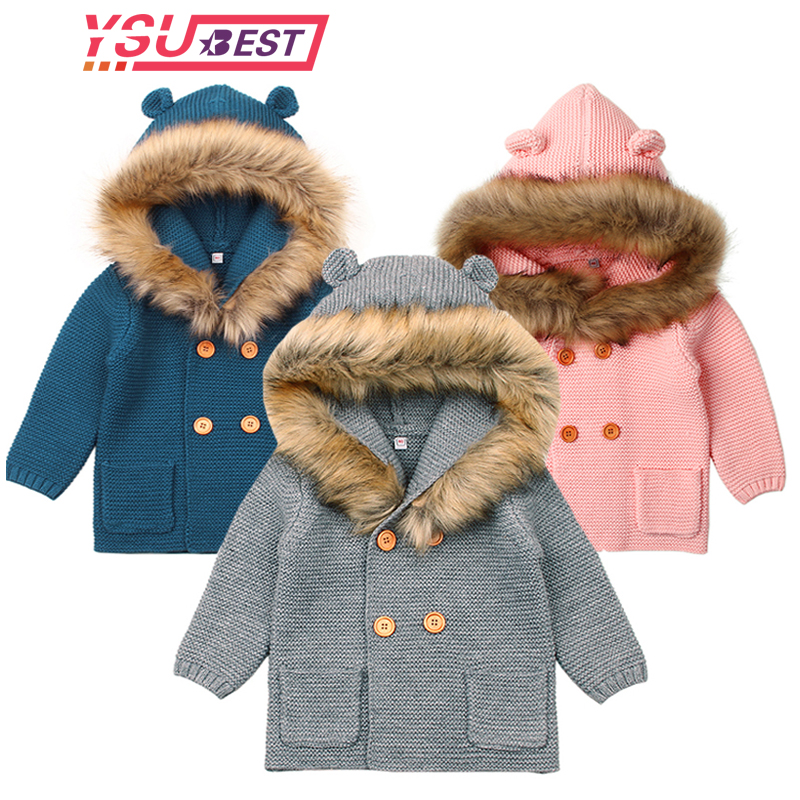 Baby Boys Girls Knit Cardigan Winter Warm Newborn Infant Sweaters Fashion Long Sleeve Hooded Coat Jacket Kids Clothing Outfits