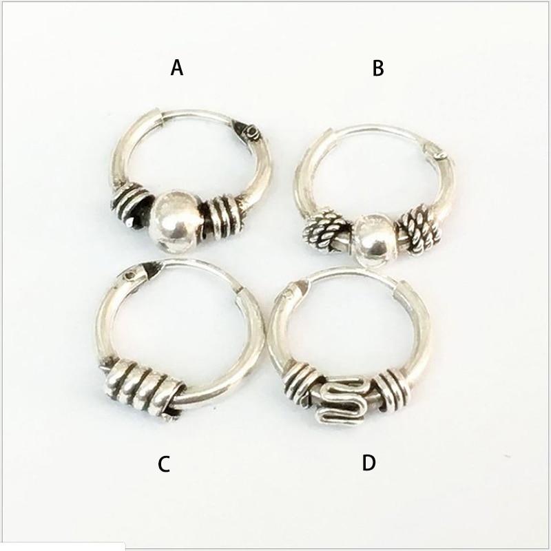 925 Sterling Silver Antiqued Beaded Endless Hoop Earrings