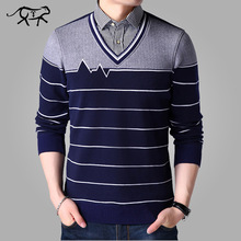 2019 New Brand Sweater Men V-Neck Slim Fit Knitting Mens Sweaters Male Autumn Fashion Casual Winter Cashmere Pullover Collar Man