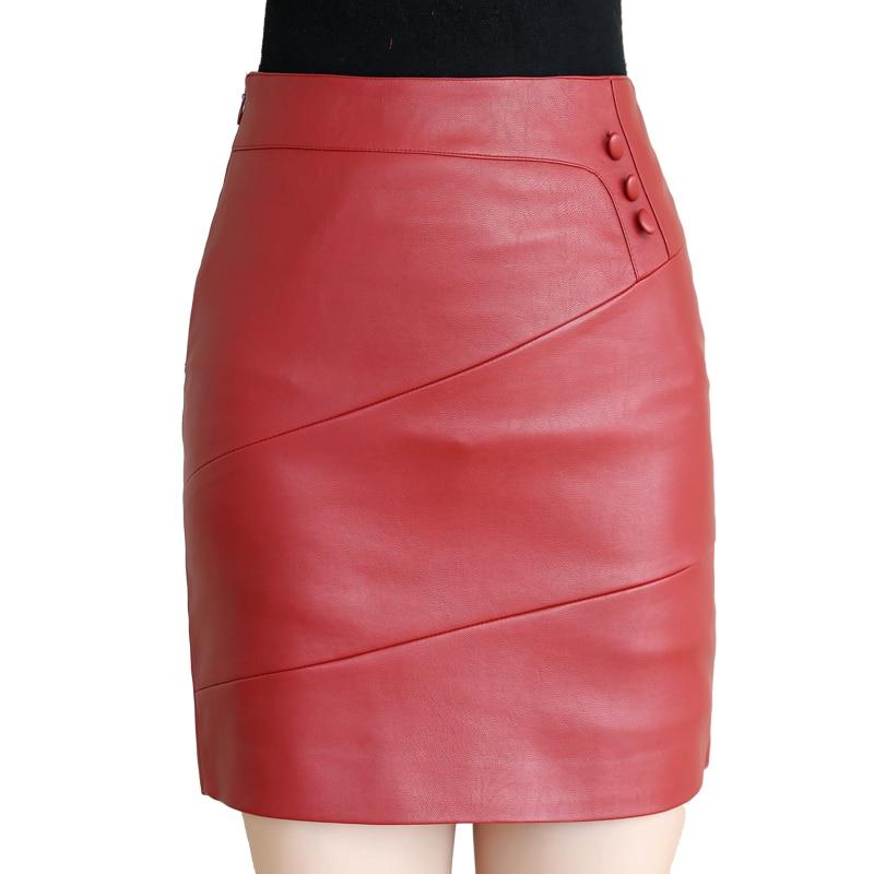Women Leather Skirt Vintage High Waist Office Lady Autumn Winter Mini Straight Skirts Female Black Short Skirt Plus Size 4XL