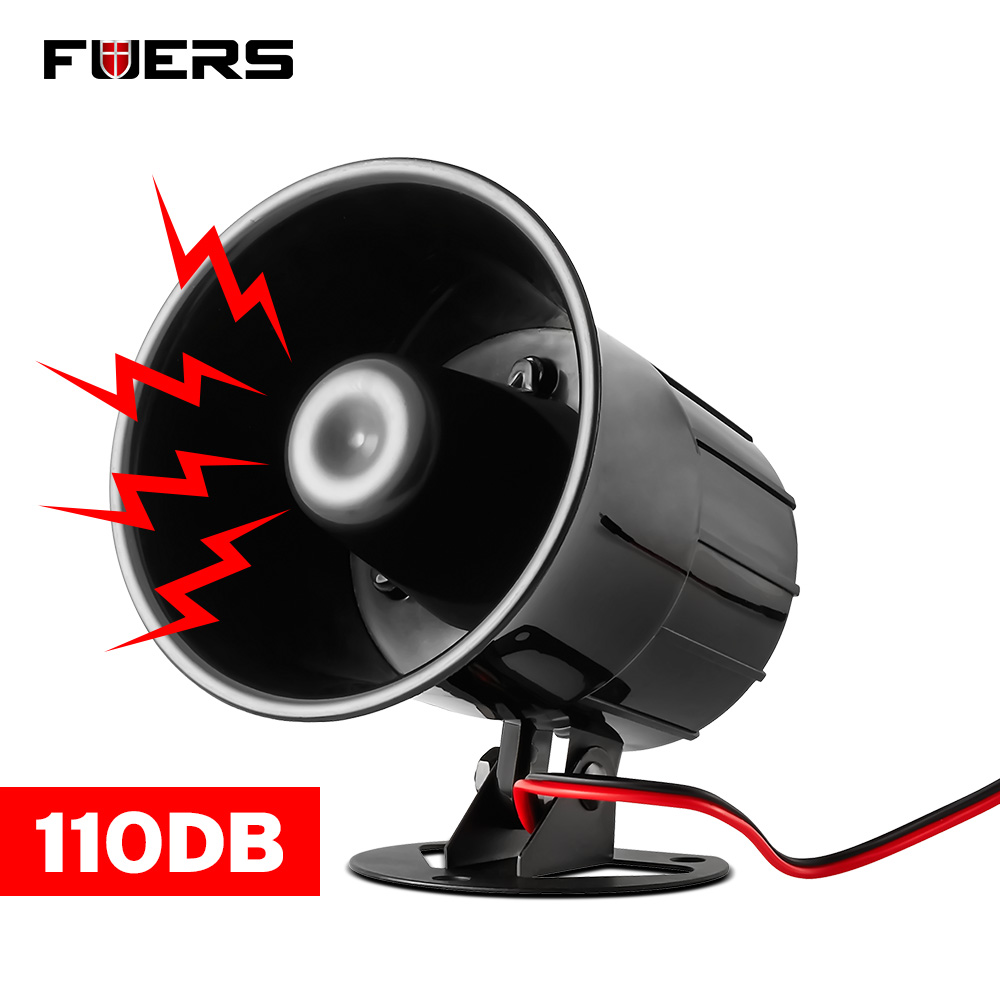 Fuers Wired Alarm Siren Horn Outdoor with Bracket for Home Alarm System Security loudly sound siren hotselling dc 12v wired loud alarm siren horn outdoor for home security protection system alarm systems free shipping