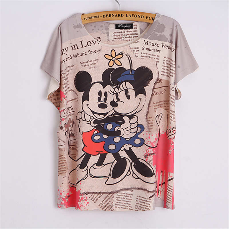 summer campus couple clothe feminina alien t shirt Batwing Sleeve tees  cartoon mouse Printed cropped tops women poleras de mujer-in T-Shirts from  Women s ... f481885715a6