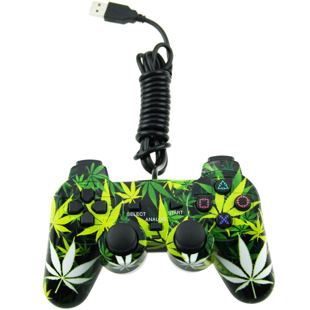Leaf Style Wired USB PC Controller Double Vibration Joystick Gamepad J
