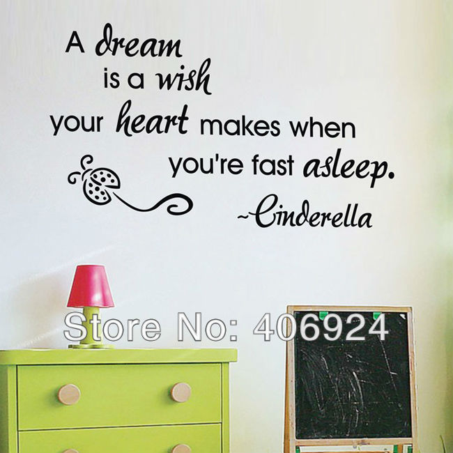 Online Shop Removable A Dream Is Wish Wall Quote Decals Stickers Decor Living Room Vinyl Art Lettering Saying