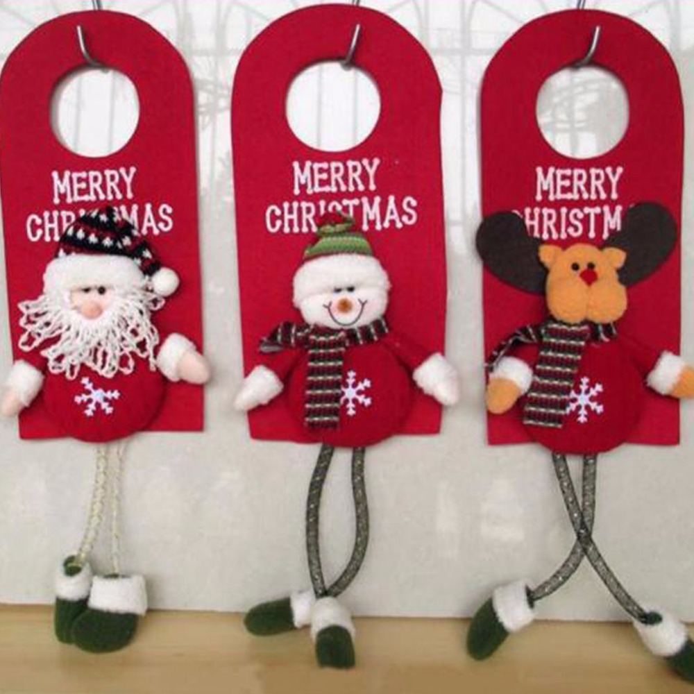 Cute Christmas Santa Claus Snowman Doll Door Pendant Home Party Xmas Tree Ornaments Decoration Children Baby Toy Gifts