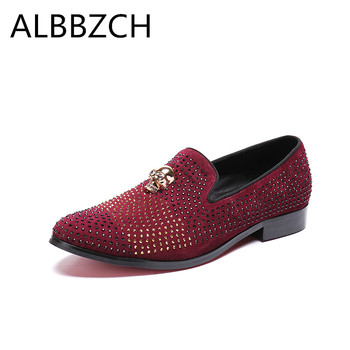 New mens fashion metal skull rhinestone design genuine leather casual shoes men loafers red pointed toe slip on wedding shoes 46
