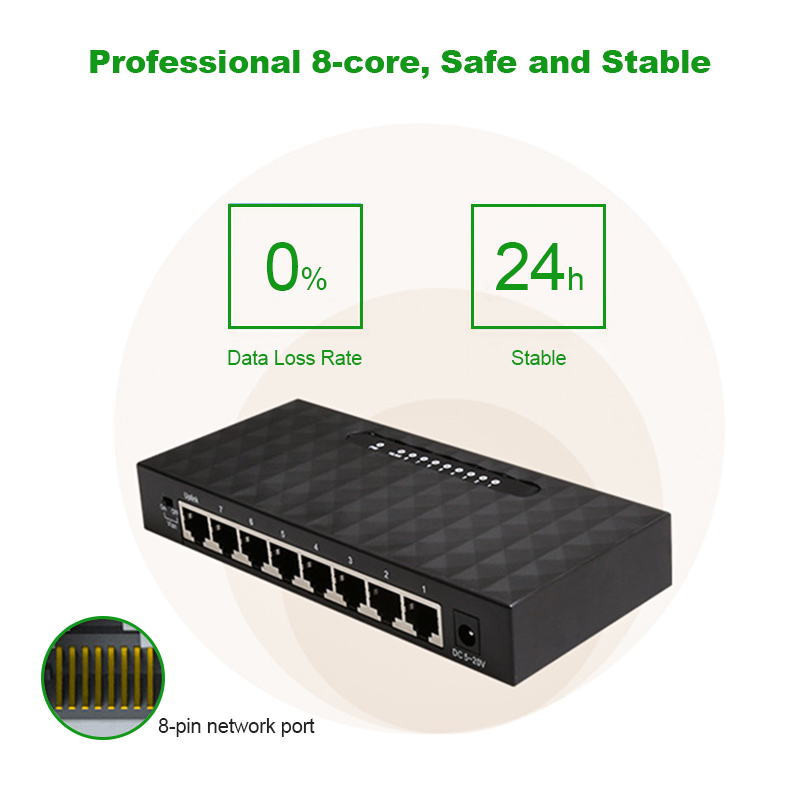 8 Port Network Gigabit Switch 10/100/1000Mbps Fast Ethernet Switcher Lan Hub Full/Half duplex Exchange Ethernet Smart Switch 5