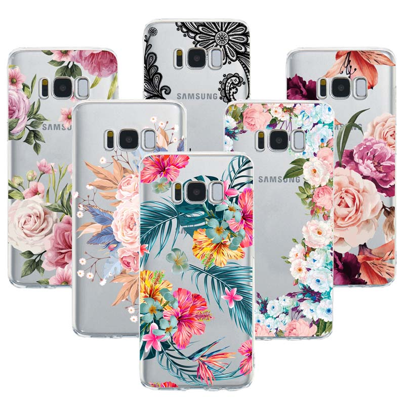 <font><b>Sexy</b></font> Floral TPU Phone <font><b>Case</b></font> For Samsung Galaxy <font><b>S8</b></font> S9 S10 Plus S10e Lite M10 M20 M30 A30 A50 A70 2019 Lace Flower Silicone <font><b>Cases</b></font> image