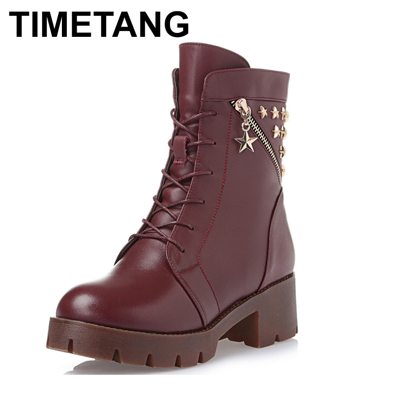 TIMETANG High quality genuine leather PU metal zipper rivets thick heel ankle boots 2017 fashion lace up women boots martin boot pu leather panel lace up flare coat