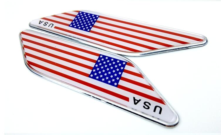 200 pairs dhl freeship usa flag car styling decals aluminum alloy