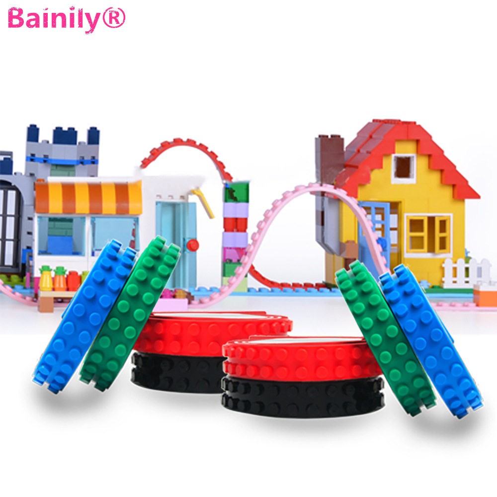 [Bainily] 10pcs/set 90CM 2*115 Dots Building Blocks Base Plate Loops Blocks Toys Adhesive Tape Kids DIY Sticky Backing Baseplate 1m 2x32 dots small nimuno loops plastic tape blocks base plate 1pcs building blocks diy baseplate compatible with lepin