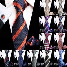 New Design Plaid Tie Set Jacquard Weave Silk Gravata Handkerchief Cufflinks Pocket Square Men Necktie Wedding Party Gift