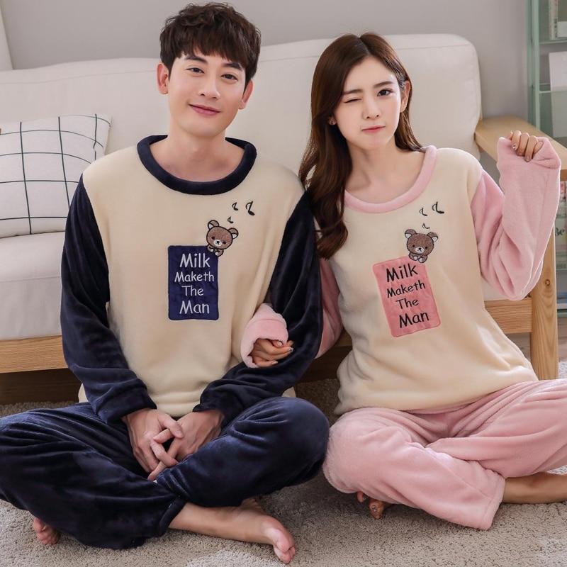 Winter Couples Thick Warm Flannel Pajama Sets Women Long Sleeve Cartoon Coral Velvet Pyjama Men Sleepwear Homewear Clothing