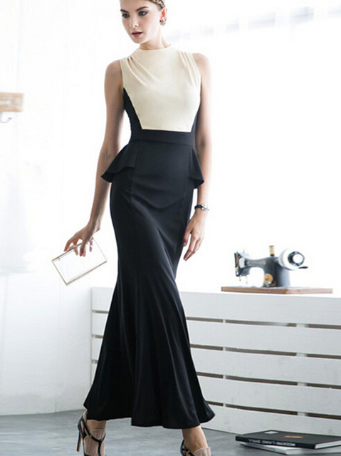 3cc3d5e7cb0 Women maxi long Elegant Patchwork black white Wear clothes to Work Business  Casual office evening party