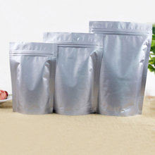50pcs Stand up Aluminium Foil Zip Lock Bag Silvery Metallic Plastic Packaging Pouch for Food Tea Candy Snack Seal Storage Bags o ring zip up metallic skirt