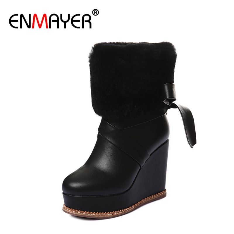 ENMAYER Wedges Heel Ankle Boots High Heels Platform Boots Fashion Winter Fur BootsBlack Yellow White Shoes Woman Genuine Leather enmayer genuine leather women boots autumn winter wedges shoes zip fashion ankle boots mixed colors platform shoes boots 34 39