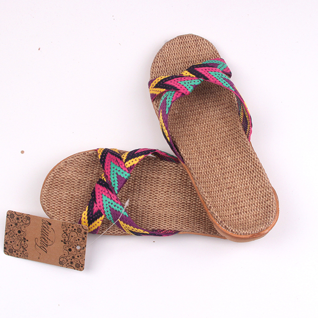 2019 Fashion Flax Home Slippers Indoor Floor Shoes Cross Belt Silent Sweat Slippers For Summer Women Sandals 4