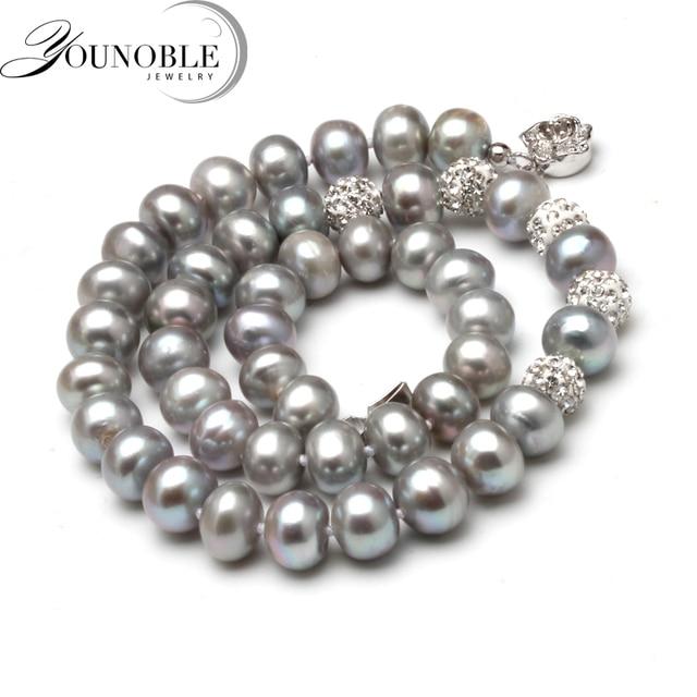 a866d9ac91ed Mejor precio Collar de perlas gris agua dulce genuino