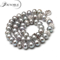 Genuine freshwater grey pearl necklace,near round pearl choker necklace women trendy birthday gift in box