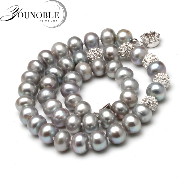 Genuine freshwater grey pearl necklace,near round pearl choker necklace women tr
