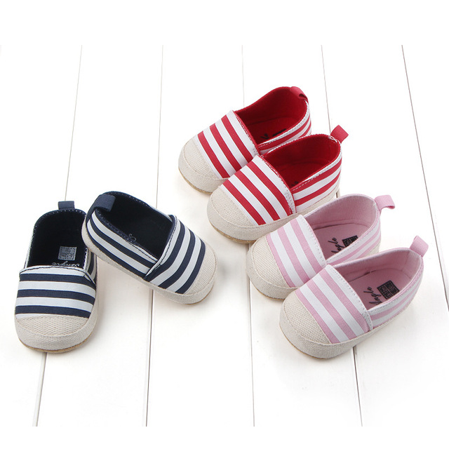2019 Fashion Blue Striped Baby Boys Baby Girls Shoes Lovely Infant First Walkers Cute Soft Sole Toddler Baby Shoes Hot Sale 1