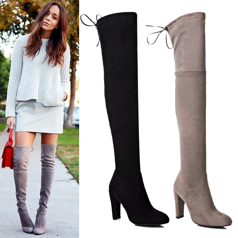 new sheepskin gray black suede thigh high lace up boots. Black Bedroom Furniture Sets. Home Design Ideas