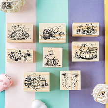 цена на Cute Cats wooden rubber stamps for scrapbooking stationery Photo album decoration DIY scrapbooking wooden stamp